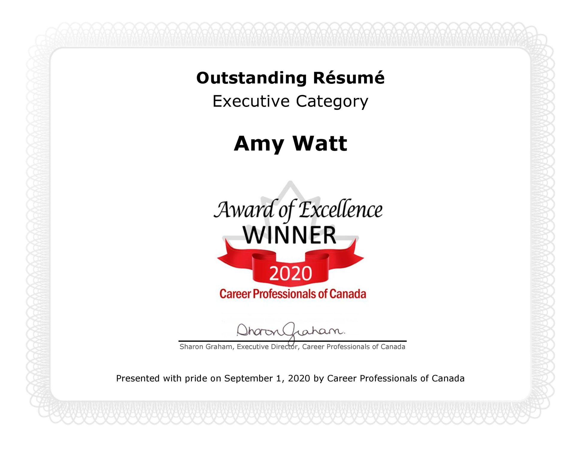 Outstanding Resume Executive Category  Award of Excellent Winner 2020 - Career Professionals of Canada
