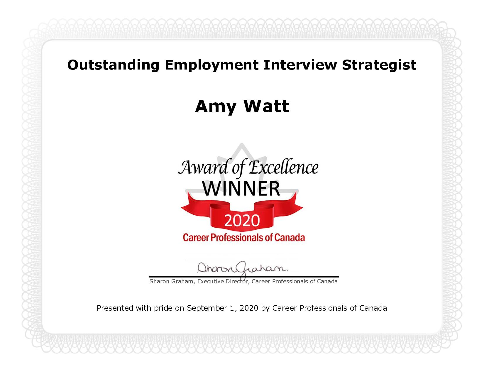 Outstanding Employment Interview Strategist - Award of Excellence Winner 2020 Career Professionals of Canada